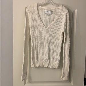 American eagle cream v-neck sweater size large